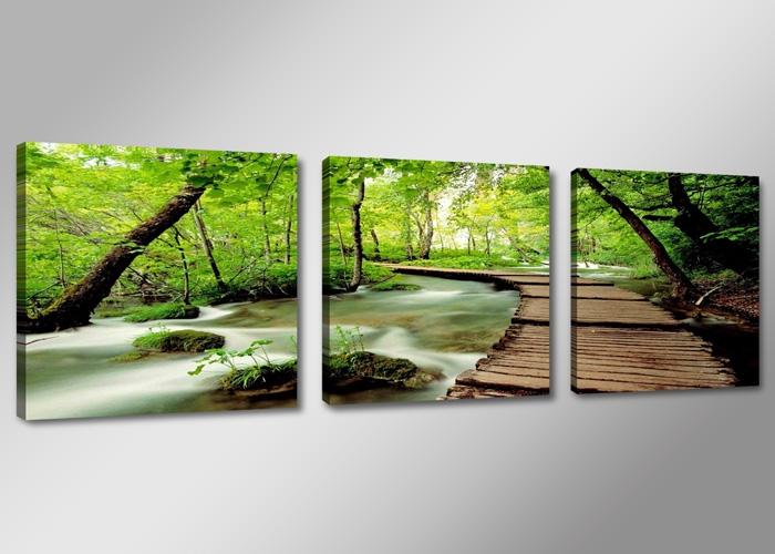 bospad 150 x 50 cm 3 luik schilderijen alles voor uw huis inrichting. Black Bedroom Furniture Sets. Home Design Ideas