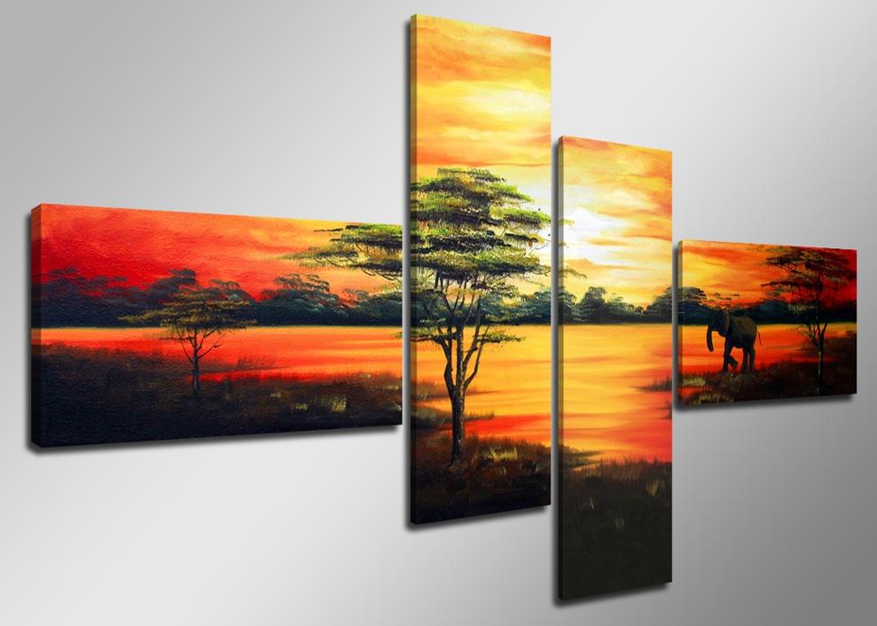 Afrika 160 x 70 cm 4 luik schilderijen alles voor uw for Imagenes de cuadros abstractos rusticos