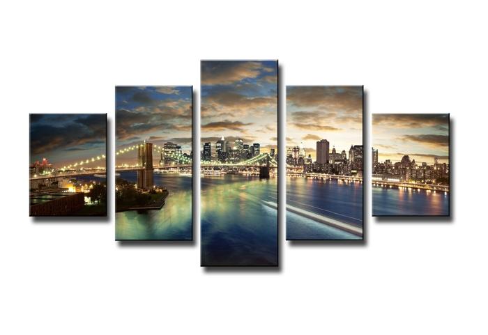 New york bij avond 160 x 80 cm 5 luik schilderijen for Tableaux en plusieurs parties